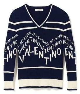 Valentino (ヴァレンティノ) - Valentino Chevron Logo Wool& Cashmere V-Neck Sweater