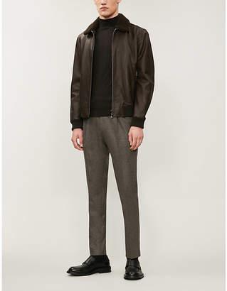 Corneliani Shearling collar leather jacket