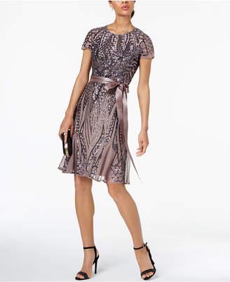 R & M Richards Sash-Belt Sequined Mesh Dress