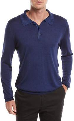 Canali Men's Long-Sleeve Wool/Silk Polo Shirt, Marine Blue