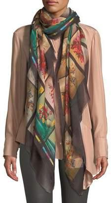 Stella McCartney Floral Graphic Fringe Silk Scarf