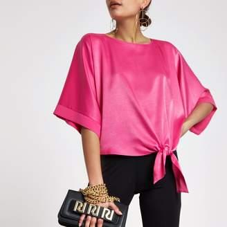 River Island Womens Pink satin knot side T-shirt