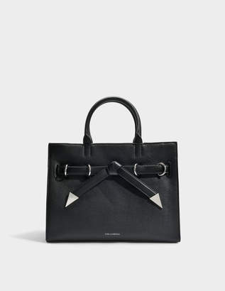 Karl Lagerfeld K/Rocky Bow Shopper Bag in Black Grained Calf Leather