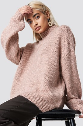 Na Kd Trend Wool Blend High Neck Knitted Sweater Blue