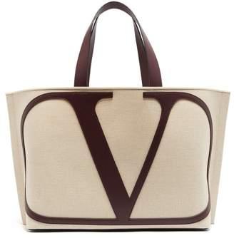 Valentino V Logo Canvas Tote Bag - Womens - Cream Multi