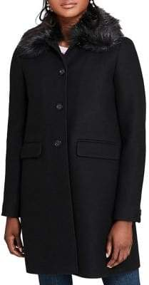 Brooks Brothers Red Fleece Faux Fur Collar Single-Breasted Coat