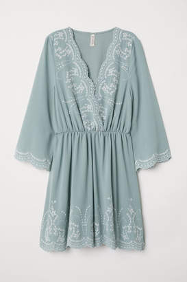 H&M Dress with Embroidery - Turquoise