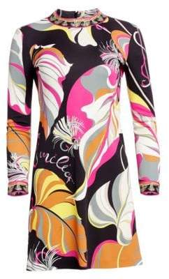 Emilio Pucci Women's Leaf Print Shift Dress - Black Fuschia Frida - Size 44 (10)