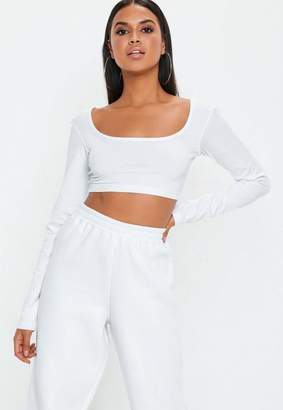 Missguided White Long Sleeve Scoop Neck Crop Top