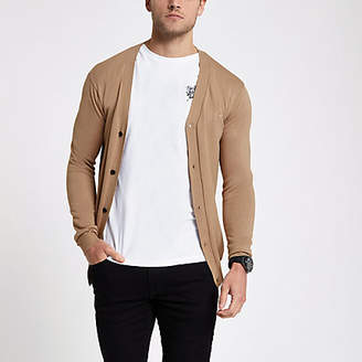 River Island Brown V neck button-down cardigan