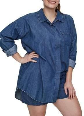 Junarose Plus Allegra Long-Sleeve Long Loose Shirt