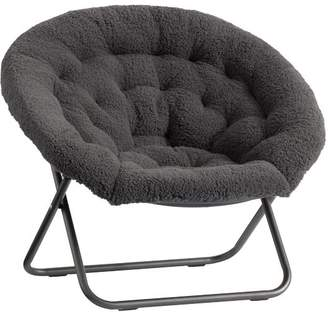 Pottery Barn Teen Hang-A-Round Chair, Charcoal Sherpa Faux-Fur w/ Bronze Base