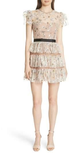 Sequin Mesh Tiered Dress