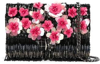Isla tweed embroidered shoulder bag