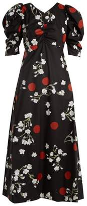 Isa Arfen Wow Obliterated Blossom Print Ruched Cotton Dress - Womens - Black