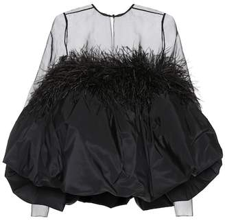 Saint Laurent Feather trimmed silk minidress