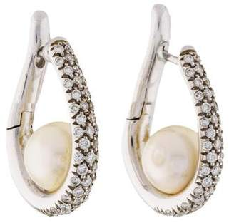 Mikimoto Pearl & Diamond Hoop Earrings