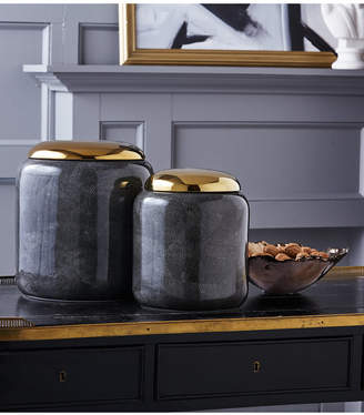 Twos Company Set of 2 Grey Shagreen Jars with Gold Metallic Lid