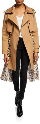 Besfxxk Leopard Print Chiffon-Back Trench Coat
