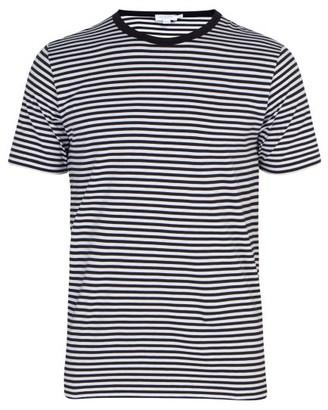 Sunspel Striped Cotton Jersey T Shirt - Mens - White Navy