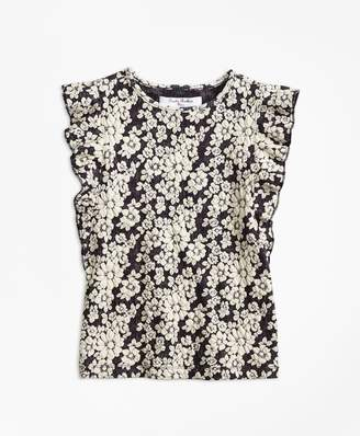 Brooks Brothers Girls Floral Jacquard Flutter-Sleeve Top