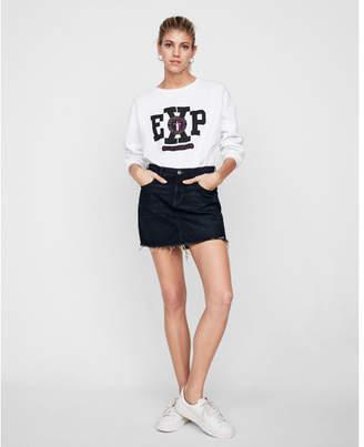 Express mid rise denim mini skirt