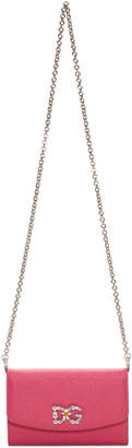 Dolce & Gabbana Pink Crystal Logo Wallet Chain Bag