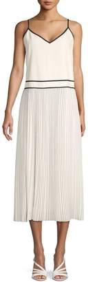 Lafayette 148 New York Pleated Silk Blend Midi A-Line Dress