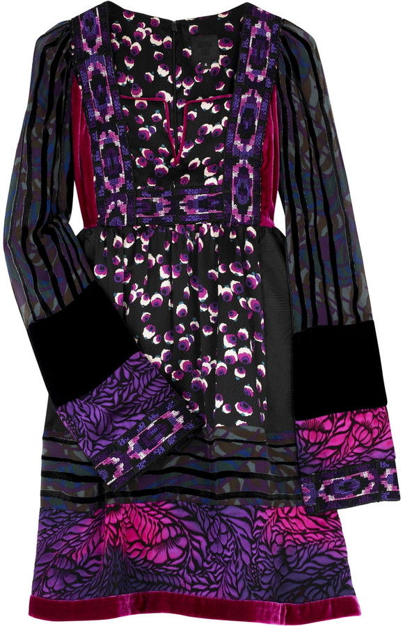 Anna Sui Patchwork trapeze dress