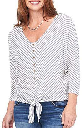 Democracy Women's 3/4 Dolman Sleeve Strip Tie Front Top