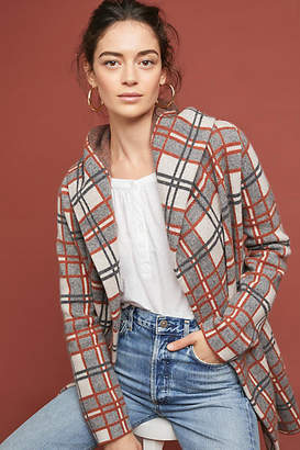 Field Flower Plaid Sweater Coat