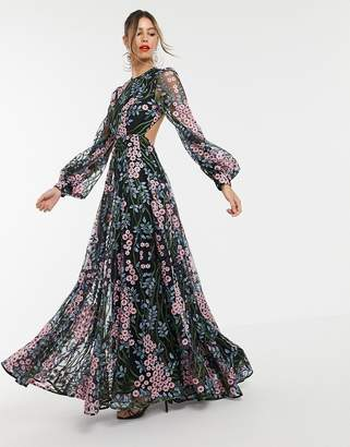 Asos Edition EDITION floral embroidered maxi dress with open back