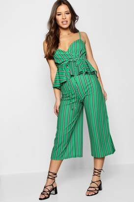 boohoo Petite Stripe Pep Waist Detail Culotte Jumpsuit