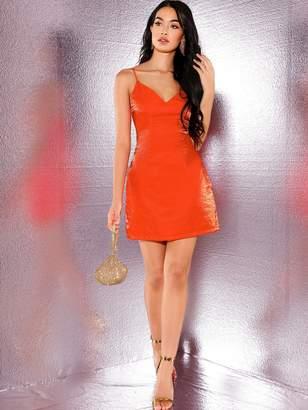 Shein Neon Orange Pocket Side Glitter Cami Dress