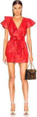 Marissa Webb Josefina Leather Dress in Cardinal Red | FWRD