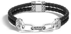 John Hardy Classic Silver Link & Black Leather Bracelet
