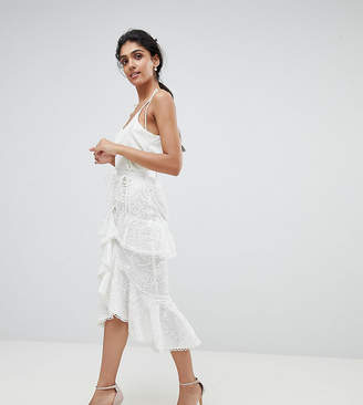 True Decadence Tall Premium Asymmetric Ruffle Lace Midi Skirt