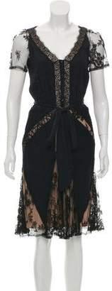 Temperley London Lace-Trimmed Midi Dress