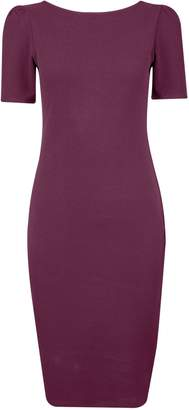62876b478d1 Dorothy Perkins Womens Purple Ruched Sleeve Bodycon Dress