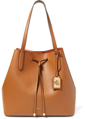 Ralph Lauren Lauren Leather Diana Drawstring Tote $268 thestylecure.com