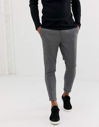 New Look skinny fit cropped pants in gray mini grid check