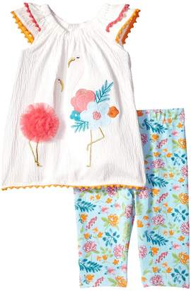 Mud Pie Flamingo Tunic and Capris Two-Piece Set Girl's Suits Sets