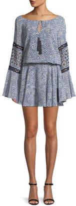 Alexis Lanelle Printed Long-Sleeve Mini Dress