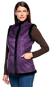 Denim & Co. Faux Suede Snap Front Vest withFaux Fur Trim