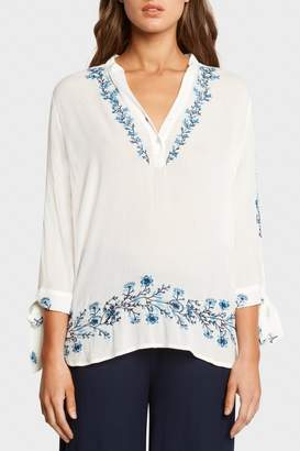 Matty M Embroidered V-Neck Top