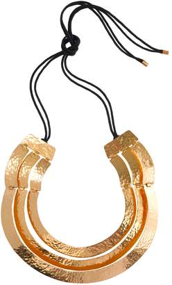 Natori Hammered Gold Three Layer Necklace