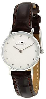 Daniel Wellington Women's Quartz Watch with White Dial Analogue Display and Brown Leather Strap 0922DW