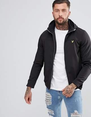 Lyle & Scott Softshell Funnel Zip Hooded Jacket In Black