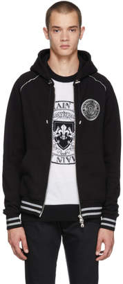 Balmain Black and Silver Zip Hoodie