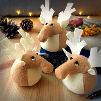 Yellow Rose Design Handmade Collectable Felt Reindeer Paperweight